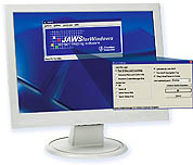 Image of computer screen with Jaws Screen Reading Software loading on screen