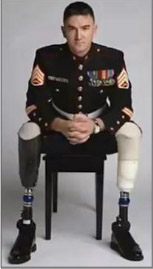 Veteran in uniform with prosthetic legs representing 508 compliance