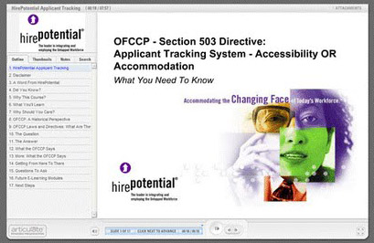 graphic of elearning player with ofccp training class loaded