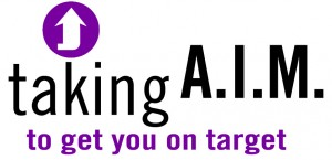 "Hirepotential's taking aim logo with purple arrow and text ""taking A.I.M. to get you on target"""