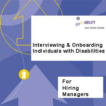"Graphic of disability elearning course with text ""interviewing and onboarding individuals with disabilities"""