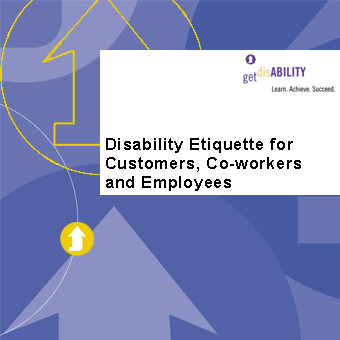 "Graphic of disability elearning course with text ""disability etiquette for customers coworkers and employees"""